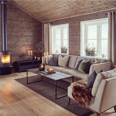 15 Minimalist Living Space Concepts That Will Certainly Create You Yearn For to Remove All Your Stuff Cool And Contemporary minimalist living room grey to refresh your home Living Room Decor, Rustic Farmhouse Living Room, Cabin Interiors, Minimalist Living Room, Home, Interior Design Living Room, Trendy Living Rooms, Rustic Living Room, Farmhouse Decor Living Room