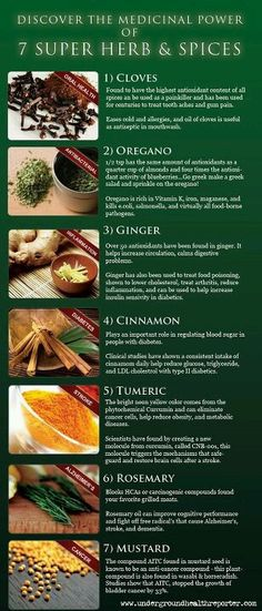 Spices and herbs that can help.