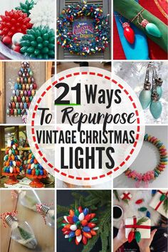 21 BRIGHT IDEAS To Repurpose Vintage Christmas Lights! Here are awesome ideas for ways to reuse old-fashioned Christmas lights for fun (and safe) new Christmas decor and Christmas crafts! #christmascrafts #christmasdecor #repurpose #reuse #upcycle #vintagechristmaslights #oldfashionedchristmaslights #ideasforoldfashionedchristmaslights #ideasforvintagechristmaslights #waystorepurposecintagechristmaslights #waystoreusevintagechristmaslights #waystoreuseoldfashionedchristmaslights…