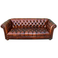 Vintage Leather Tufted Chesterfield Style Sofa C. 1930's