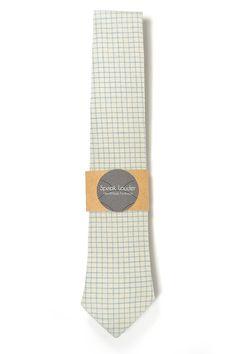 Cream blue check necktie  Wedding Mens Tie Skinny by speaklouder
