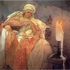 Alphonse Maria Mucha (Czechoslovakian painter) 1860 - 1939 Woman with a Burning Candle, 1933 oil on canvas 78 x 79 cm. Mucha Museum, Prague