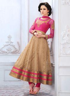 Pink N Beige Net Anarkali Suit
