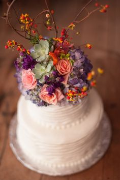 Rustic Wedding Cake, Barn Wedding, Purple Pink and Orange Flowers By Rachael Foster Photography www.rachaelfosterphoto.com