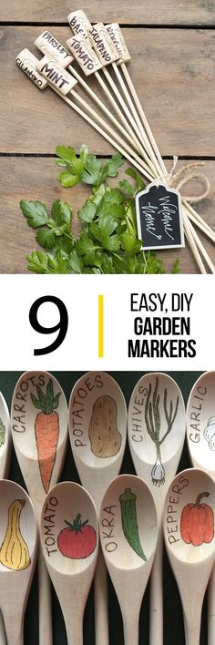 Get lost in your garden with these homemade DIY garden markers. Make your vegetables stand with simple materials you can pickup from the dollar store.