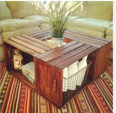 Crates turned into a coffee table. Supposedly the crates are available from Michaels.