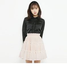 dreamv | Rakuten Global Market: The スカートドットシフォンティアード white pink gray black black and white M L Lady's dream fine-view 1110 ◆ 11/14 shipment plan that shirring ribbon short Gurley shows cute softly in the fall and winter