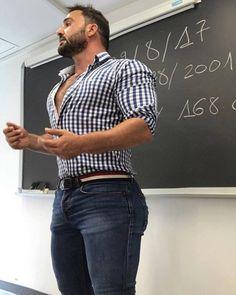 "cowboybulgejeans: "" the-privateer: "" musclehunkymen: ""Muscled school teacher Juan Luis San Nicholas and the clothes he wears to class. "" where were teachers like this when i went to school! Scruffy Men, Hairy Men, Bearded Men, Men In Tight Pants, Hunks Men, Beefy Men, Men In Uniform, Muscular Men, Attractive Men"