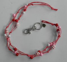 Avainnauha #2 by Miss Piggy / Key chain, ID holder, made with wooden beads and waxed cord