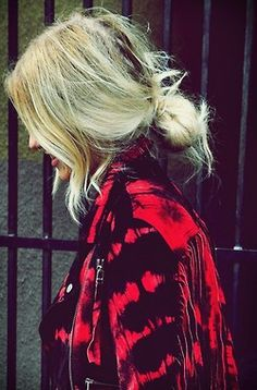 Messy low bun (cool jacket)