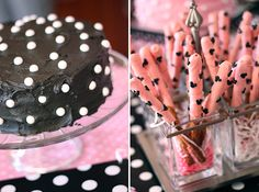 """Minnie Mouse party food - """"polka dot"""" cake and dipped pretzel sticks"""