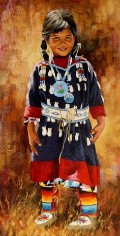 Celebrated Artist, Jim Schaeffing, Little Crow Beauty, Oil painting, Ca 1986, #963