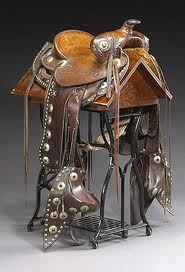 Fabulous Vintage western saddle.. My husband builds saddles of this type---beautiful!