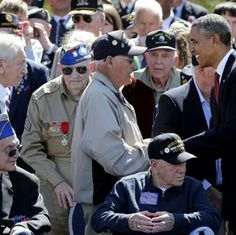 Obama and vets Normandy 6-6-14