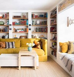 Designer Lauren Liess invites Domino into her family's Virginia home, where nature and simplicity rule. Find more home makeovers, home improvements and home decorating ideas on Domino. Living Room Decor, Living Spaces, Living Rooms, Tv Rooms, Game Rooms, Lauren Liess, Yellow Sofa, Yellow Rooms, Turbulence Deco