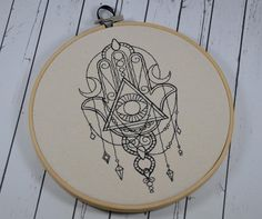 Hamsa Hoop Art - Machine Embroidery