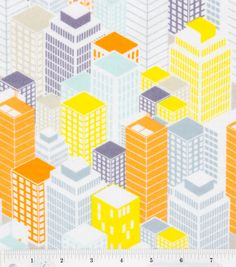 City Buildings Flannel skyscapers skyline rooftops gray aqua yellow orange -YARD on Etsy, $6.50
