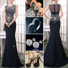 Is this graceful dress your love? #PartyDress #Ring #Earrings #Shoes #Fashion #FreshFashion