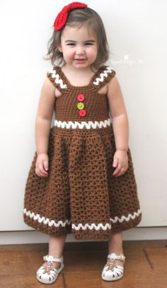 Inspiration hits when I least expect it. Just when I'min the middle of another project my husband comes home with the cutest little gingerbread sandals for our daughter. One look at these cute shoes and I knew I had to crochet a matching gingerbread dress! The vision of the final piece was in my head …
