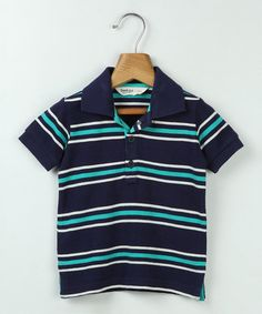 Look what I found on #zulily! Navy & White Stripe Polo - Infant, Toddler & Boys #zulilyfinds