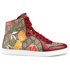 Women'S Gucci Tian High-Top Sneaker ($690) ❤ liked on Polyvore featuring shoes, sneakers, women, hi low tops, canvas shoes, floral print sneakers, gucci sneakers and high top sneakers