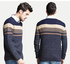 Zongke Mens Casual Striped Slim Fit Pullover Sweater Deep Blue 3X-Large