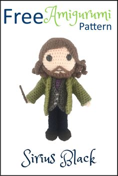 Free Amigurumi Crochet Pattern Sirius Black from Harry Potter. Lots of other free Amigurumi Patterns including Harry Potter and Dobby the House Elf. Sirius Black, Crochet Amigurumi Free Patterns, Crochet Toys, Free Crochet, Harry Potter Crochet, Harry Potter Dolls, Crochet Christmas Gifts, Crochet Daisy, Crochet Abbreviations