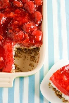 Strawberry Pretzel Salad - My mom has been making this for years its one of my FAVORITE desserts for a summer cookout! I always put cool-whip on top and add extra crushed pretzels on the top! YUM!!!