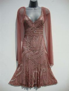 Vintage 20s long bead flapper dress size 10 us 6 gatsby deco wedding sheer nude