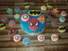 Superheroes cake and cupcakes