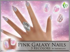 The Sims Resource: Pink Galaxy Nails by SimFabulous • Sims 4 Downloads