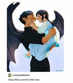 Papa Rhys and his little bat by cccrystalclear. Rhysand x Feyre. Sarah J. Maas - This is seriously the cutest thing I've ever seen in my entire life. A Court Of Wings And Ruin, A Court Of Mist And Fury, Fanart, Charlie Bowater, Character Inspiration, Character Art, Feyre And Rhysand, Sarah J Maas Books, Crescent City