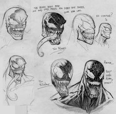 Venom Studies by beastboyjoe on DeviantArt Batman Drawing, Marvel Drawings, Comic Drawing, Chibi Marvel, Marvel Comics Art, Venom Character, Character Art, Whyt Manga, Venom Art