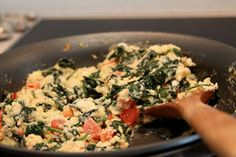 Spinach, Feta and Tomato Scrambled Eggs :: Plate and Pour