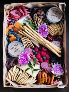 Charcuterie Box – 48 hour notice required — Savory n Sweet, Inc. - Types of Cheese Charcuterie Picnic, Charcuterie Recipes, Charcuterie And Cheese Board, Charcuterie Platter, Cheese Boards, Party Food Platters, Cheese Platters, Breakfast Catering, Graze Box