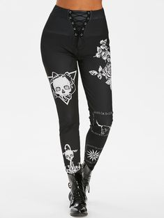 Gothic Skull Flower Print Lace Up Pants Halloween Outfits For Women, Lace Pants, Women's Pants, Trousers, Skinny Waist, Flower Skull, Pants For Women, Clothes For Women, Lace Inset