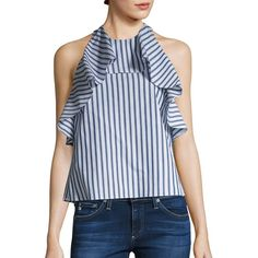 Alice + Olivia Windy Ruffled Cotton Swing Top (€185) ❤ liked on Polyvore featuring tops, blue white stripe, tie halter top, sleeveless tops, alice olivia top, halter top and halter neck tops