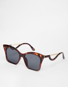 9ae499991546 Image 1 of ASOS Square Cat Eye Sunglasses In CP With Drop Arm Spring  Sunglasses
