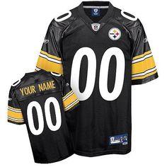 Custom Reebok Pittsburgh Steelers Black Jersey