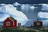 Icebergs off the coast of Disko Bay, Greenland, located far north of the Arctic Circle.