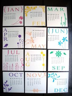 3x3 calendar cards...on the back of each write pertinent family dates...maybe add a small easel?