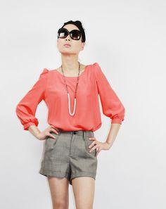 orange silk blouse