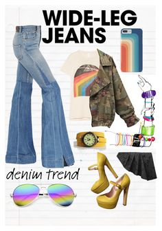 """""""Pink Floyd + Wide Legs"""" by callmejupiter on Polyvore featuring Roberto Cavalli, Valentino, MadeWorn, ZeroUV, AGA, denimtrend and widelegjeans"""