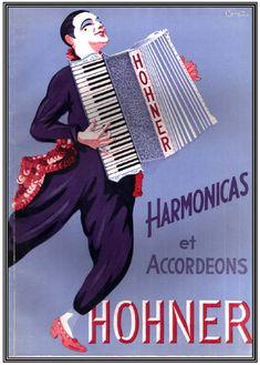 Hohner Werbung von 1933 - das war die Zeit, als der berühmte Clown Grock ein eigens für ihn konstruiertes Piano-Akkordeon bekam.