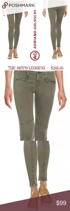 """{AG} moto legging AG Adriano Goldschmied * Size 27 * Denim, Jeans, Pants * Style: The Moto Legging  * Color: Sulfer Deep Autumn / Olive Green * Fit: Skinny Ankle * Zippers on Back of Ankles & Front Faux Pockets * 2 Back Patch Pockets * Super Soft Fabric with Stretch * 55% Cotton / 42% Tencel / 3% PU * Low Rise: 7"""" * Regular Inseam: 29"""" * LIKE NEW - FLAWLESS  * Modal * Lightweight * Designer * Sold Out * Trendy * Trending AG Adriano Goldschmied Jeans"""