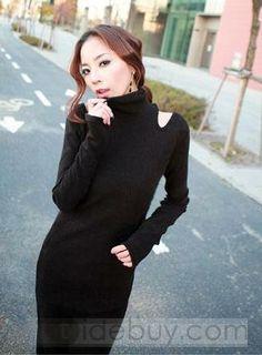 Best Quality Off Shoulder Turtle Collar Wool Dresses : Tidebuy.com