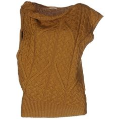 E-gó Jumper (3.830 UYU) ❤ liked on Polyvore featuring tops, sweaters, ochre, wool tops, brown tops, wool sweaters, brown sweater and sleeveless tops