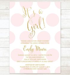 pink and gold baby girl shower invitation it's a girl pink gold glitter shower invite polka dots printable modern shower digital invite
