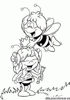 Dibujo de dos abejas jugando