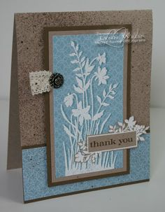 By Lynn Weiss. Love the colors & love the paper. Note the shadow on the image -- created by stamping first in color & then a bit offset in VersaMark, embossing with white EP. Card base was embossed in Cuttlebug.